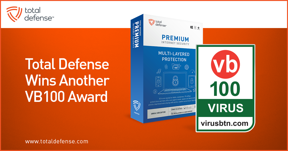 Total Defense is proud to be the recipient again of the the prestigious VB100 award