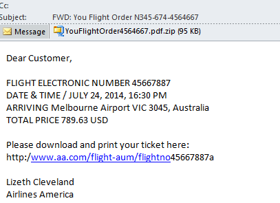 your flight order email